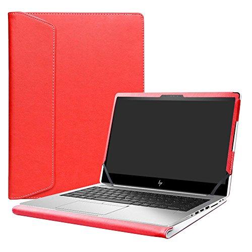 Alapmk Diseñado Especialmente La Funda Protectora de Cuero de PU para 14' HP EliteBook 840 G5 / HP ZBook 14u G5 Ordenador portátil,Rojo