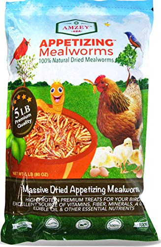 Mealworms -5 Lbs- 100% Non-GMO Dried Mealworms - Large Meal Worms - Bulk Mealworms...