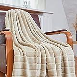 Bertte Throw Warm 330 GSM Lightweight Luxury Fleece Blanket for Bed Couch, Twin(60'x 80'), Light Beige