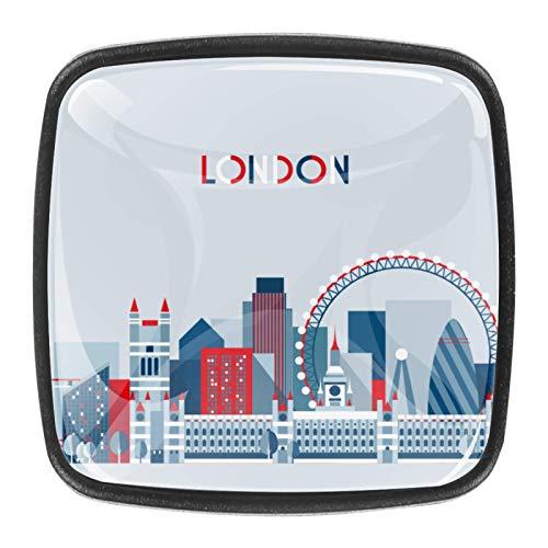 [4 piezas] pomos cuadrados para puerta de armario de armario de color vintage, diseño multidiseño, diseño vintage de Londres y autobús con bandera británica