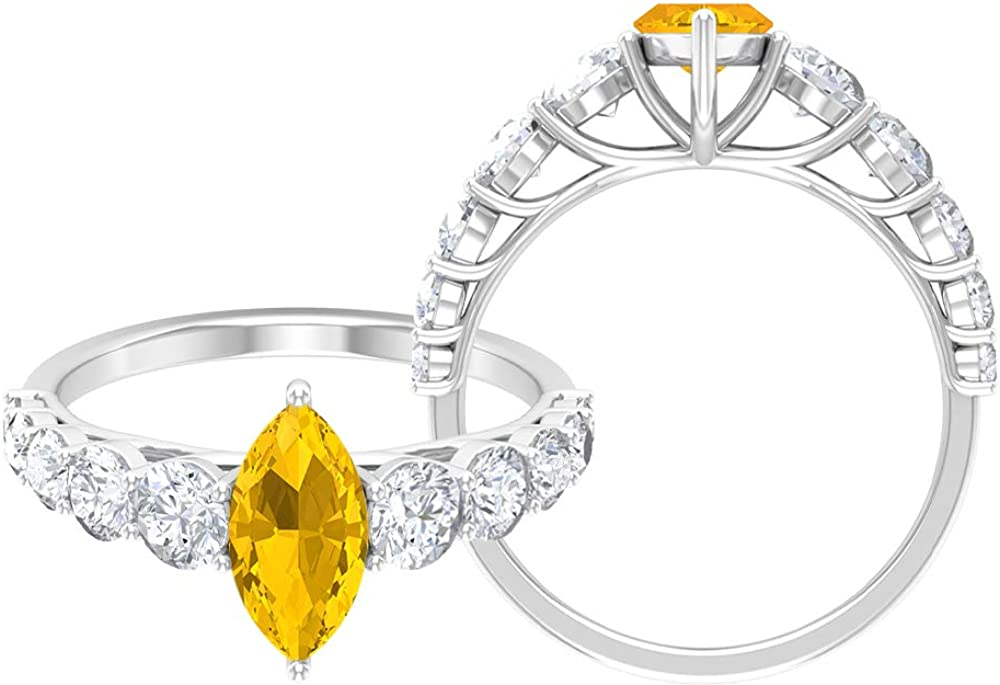2.25 Lab Created Yellow Sapphire SALENEW very popular Moissanite Solitaire Tucson Mall Acce Ring