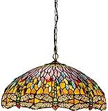 DALUXE Tiffany Techo de Cristal lámpara Colgante 50cm Tiffany luz Estilo libélula Verde salón-Comedor Bar lámpara Colgante de Techo de Cristal