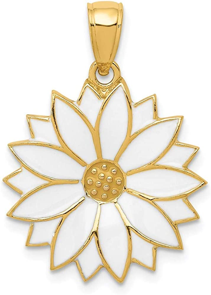 14k Yellow Gold Enameled White Daisy Flower Pendant Charm Necklace Gardening Fine Jewelry For Women Gifts For Her