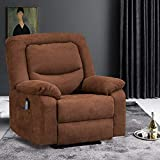 IPKIG Power Recliner Chair with Heat and Massage, Linen Recliner Sofa Chairs with USB Port for Adults for Living Room Bedroom (Brown)