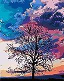 pintura al óleo DIY de lienzo, Pintar por Números de Kits Lienzo montado en con Pinceles y Pinturas para Adultos niños Mayores Junior - Sucursales -40x50cm con marco
