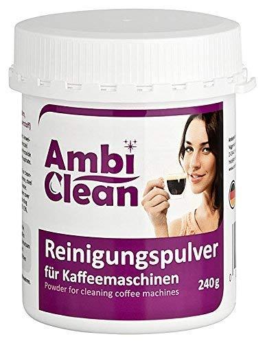AmbiClean Reinigungspulver für Kaffeemaschinen ★ Gründlich ★ Geschmacksneutral ★ Schnell | Reiniger mit Aktivsauerstoff für Kaffeevollautomaten | Kaffeefettlöser für Espressomaschinen (Reinigungspulver 240g)