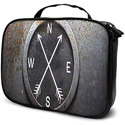 Simple Compass Vintage Pattern Cosmetic Case Multifunctional Toiletry Bag with Zipper Waterproof