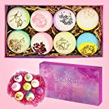 Bath Bomb Gift Set of 4.1OZ*8 Rose Lavender Oat Milk Dry Skin Moisturize Perfect for Bubble Spa Bath Handmade Birthday Mothers Day Gifts