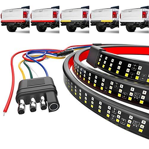 "Mega Racer 60"" Triple Row LED Tailgate Light Bar, 5 Functions - LED Brake Light Strip/Running/Turn Signal/Reverse/Double Flash Light Bar Tailgate, IP67 Waterproof, Pack of 1"