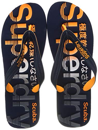 Superdry Herren Scuba Faded Logo FLIP Flop Zehentrenner, Mehrfarbig (Black/Optic White/Bright Blue W2y), 46-47 EU
