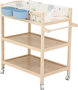 Rounds Solid Wood Portable Bed Baby Diaper Table  Bed Newborn Sleeping Basin Cloth Baby Touch Care Bathing Multifunctional  Color Blue