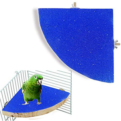 Piattaforma per Posatoio per Uccelli Accessori per Gabbia in Legno per Parco Giochi Supporti per Rettifica di Zampe per Pappagallo Uccello del Pesce Persico (Blu)