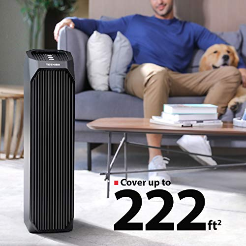 Toshiba Smart WiFi Air Purifier, 3-in-1 True HEPA Air Cleaner, Designed for Allergies, Pollen, Pets, Odors, Smoke and Dust, works with Alexa, Black – A Certified for Humans Device