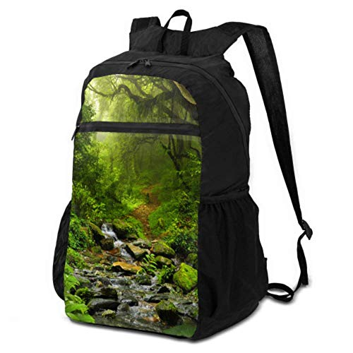 JOCHUAN Hiking Picnic Bag Green Tree Jungle Tapestry Forest Backpack Lightweight Packable Backpack Daypack Travel Lightweight Waterproof for Men & Womentravel Camping Outdoor