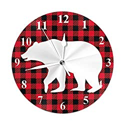 Moslion Wall Clock White Bear Silhouette Cool Grizzly Bear Red Black Plaid Buffalo Cute Animal Round Wall Clock Home Decor Wall Clock for Thanksgiving Day Halloween Xmas