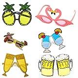 Occhiali da sole divertenti,occhiali da sole per feste novità in confezione da 6,occhiali divertenti creativi per occhiali da vista a tema hawaiano perfetti per bambini adulti,rifornimenti per feste