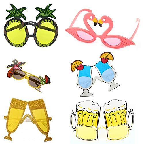6 pares de gafas de sol divertidas, creativas y divertidas gafas de sol hawaianas luau, para fiestas de disfraces de luau, fiestas temáticas de hawai, fiestas de playa