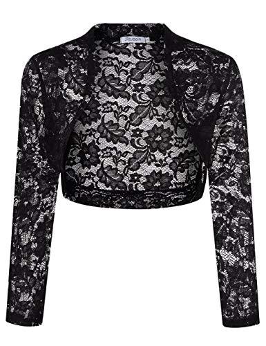 KOJOOIN - Bolero da donna in pizzo, corto, a maniche lunghe, per abito da cocktail (imballaggio) B-nero L