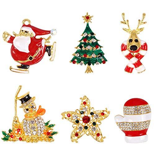 Huayue 6 Stück Weihnachtsbrosche Set Strass Weihnachtsbrosche Kristall Weihnachtsschmuck Geschenk Bunte Diamant Emaille Anstecknadeln Brosche Pins für Pullover Hut Schal Strickjacke (6 Stile)