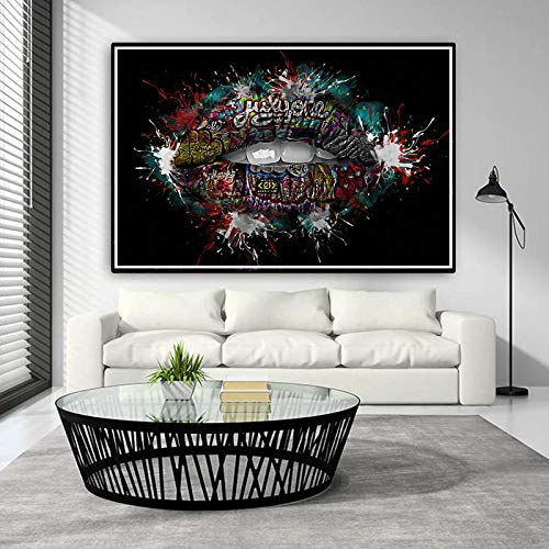 SNGTOW Graffiti Art Lip Pintura al óleo sobre Lienzo Arte de la Pared Carteles e Impresiones Imágenes de Pared para la Sala de Estar Decoración de la Pared del hogar 70X105 cm Sin Marco