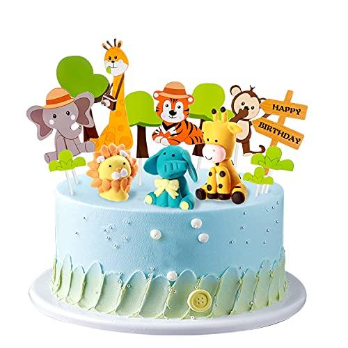 14 pezzi decorazione della torta degli animali della foresta giungla topper del cupcake del leone dello zoo spina per torta stuzzicadenti per bambini ragazzo decorazione della festa di compleanno