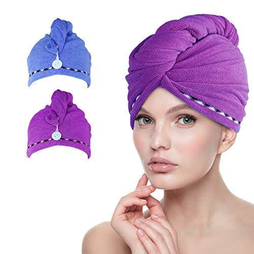 esafio Haar-Turban-Tücher, weich, Mikrofaser, schnelltrocknend, mit Knöpfen, sehr saugfähig, einzigartiges und stilvolles Design, Blau/Dunkelviolett, 2 Stück