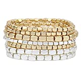 Rosemarie Collections Women's Two Tone Chunky Nugget Stacking Statement Stretch Bracelet Set of 7 (Matte Two Toned-Gold/Silver)
