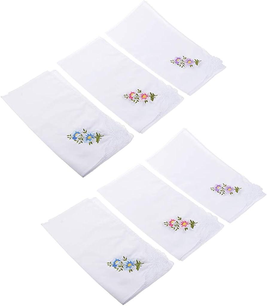 dailymall Set Of 24 Soft Handkerchief Embroidery Cotton Handkerchiefs, 27,5 X