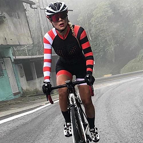 Triathlon Anzug Damen Radfahrenanzug Langarm Radfahren Jersey Sweatshirt Mountainbike Radfahren Jersey Jumpsuit Set (Color : 9, Size : S)