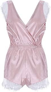 kaifongfu Womens Lace Underwear 1PC Sleeveless Sleepsuit Deep V-Neck Low Cut Waist Nightwear