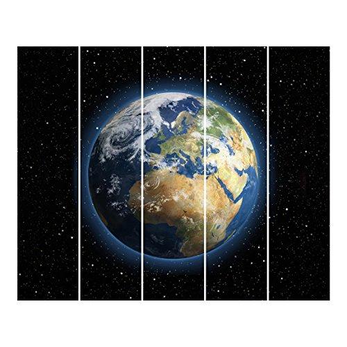 Bilderwelten Cortinas deslizables set - My Earth - 5 Paneles japoneses, cortina de panel deslizante panel cortina incl. sistema de montaje, Sistema de montaje: Montaje para techo, Tamaño: 250 x 300cm (5 paneles de 250 x 60cm)