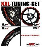 myrockshirt XXL-Tuning Set für Suzuki GSXS 1000 1x Komplettsatz Felgenrandaufkleber/Rim Stripes/Felgenstreifen + 8 x Innerand-Felg