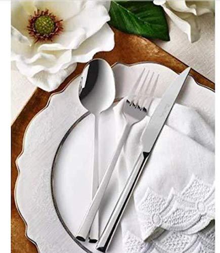 Pierre Cardin Jupiter - Cubertería de 84 piezas, 12 cucharas, tenedores, cuchillo, cuchara de postre, cuchillos de postre, cucharas de postre, cucharas