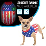 xsmall dog clothes - American Flag Dog Halloween Costume with Blinking Lights   Light-up Dog Shirts for XSmall Dogs (and Medium, Large dogs)   USA Flag Dog Clothes   Patriotic Dog Shirts w/ LED Lights   Size XS