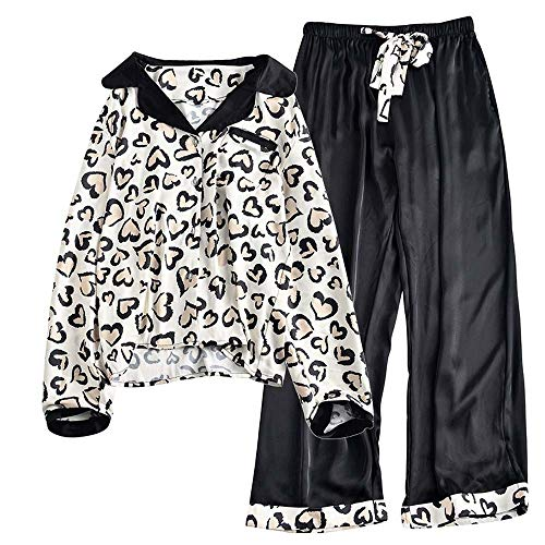 Hancoc Pijamas Camisa De Seda Leopardo Camisa Blanca Pantalón Negro Pijama Estampa Pantera Manga Larga Camisa De Casa Vestido De Verano