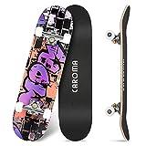 Skateboard per Principianti,79cm×20cm Completo Skate Boards,9 Strati Acero Deck Double Kick Concave Standard Trick Cruiser Skateboards,per Ragazza Ragazzo Adolescenti Adulto Bambino (8-Purple Letter)