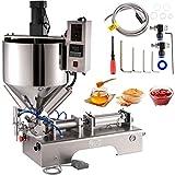 VEVOR Máquina de Llenado y Agitación de Calentamiento Neumático 50-500 mL Máquina de Relleno de Pasta Horizontal Semiautomática Acero Inoxidable con Tolva de 30 L,110 V para Crema Salsa Pasta etc