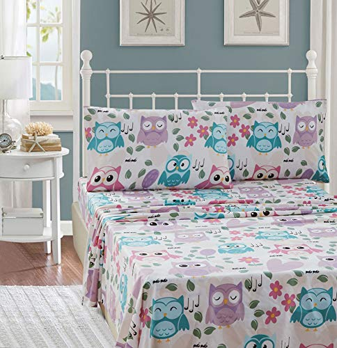 Elegant Homes Multicolor Pink White Blue Purple Beautiful Girls Floral Owl with Hearts Design Fun 4 Piece Printed Sheet Set with Pillowcases Flat Fitted Sheet for Girls/Kids # EH Owl (Queen Size)