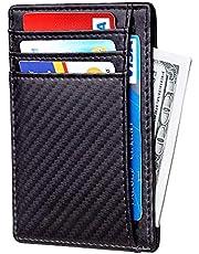 Santo Slim Wallet RFID Front Pocket Wallet Minimalist Secure Thin Credit Card Holder Slim Minimalist Front Pocket RFID Blocking Leather Wallets for Men Women