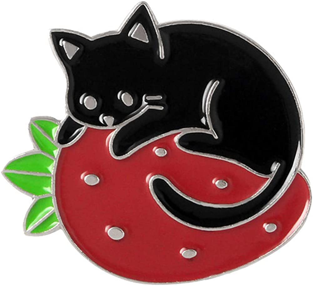 Sweet Strawberry Enamel Pins Set Cartoon Fruit Rabbit Cat Lapel Pins for Women Girl Cute Brooches Pin Badges for Clothing/Backpacks