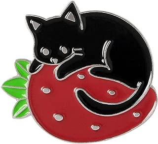 Enamel Pin Cute Funny Lapel Pins for Backpacks Clothes Jackets Hats,Women Cute Cartoon Litter Cat Strawberry Enamel Brooch Pin Collar Badge Jewelry - Silver