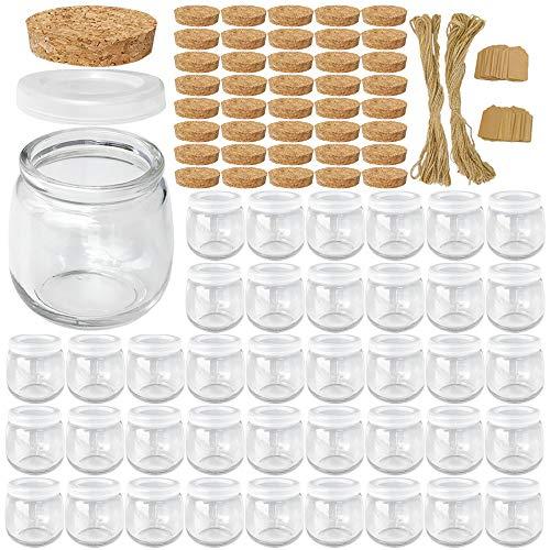 Syntic 40 Pcs 7 oz (225ML) Glass Jars, Yogurt Jars with PE Lids and Cork Lids, Clear Pudding Jars...