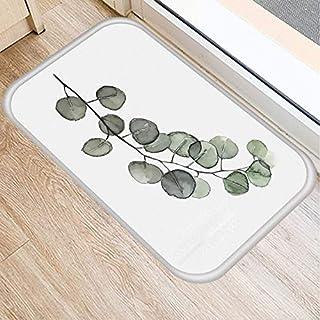 OPLJ Green Leaves Plant Pattern Anti-Slip Suede Carpet Door Mat Doormat Outdoor Kitchen Living Room Floor Mat Rug A5 40x60cm