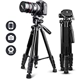 "UBeesize 67"" Camera Tripod with Travel Bag, Cell Phone Tripod with Wireless Remote and Phone Holder, Compatible with All Cameras, Cell Phones, Projector, Webcam, Spotting Scopes"