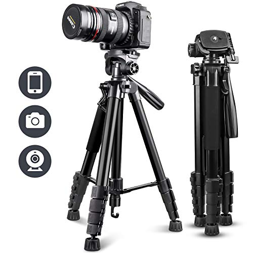 "UBeesize 67"" Camera Tripod with Travel Bag, Cell Phone Tripod with Bluetooth Remote and Phone Holder, Compatible with All Cameras, Cell Phones, Projector, Webcam, Spotting Scopes"