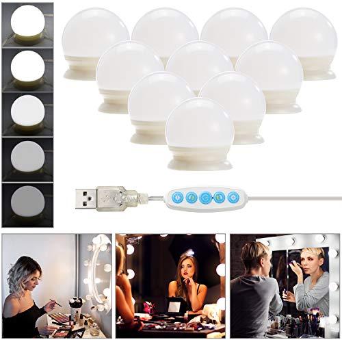 Led Spiegelleuchte,Refaney Hollywood Stil Schminktisch Spiegel Lichter Set für Kosmetikspiegel 10 Dimmbar Schminklicht Spiegellampe für Kosmetikspiegel, Schminktisch/Badzimmer Spiegel