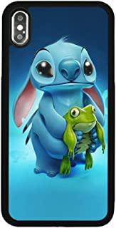 Lilo & Stitch Ohana Case for iPhone Xs Max Comic TPU Silicone Gel Edge + PC Bumper Case Skin Protective Printed Phone Full Protection Cover