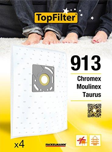 TopFilter 913, 4 sacs aspirateur pour Chromex, Moulinex et Taurus boîte de sacs d'aspiration en non-tissé, 4 sacs à poussière (30 x 26 x 0,1 cm)