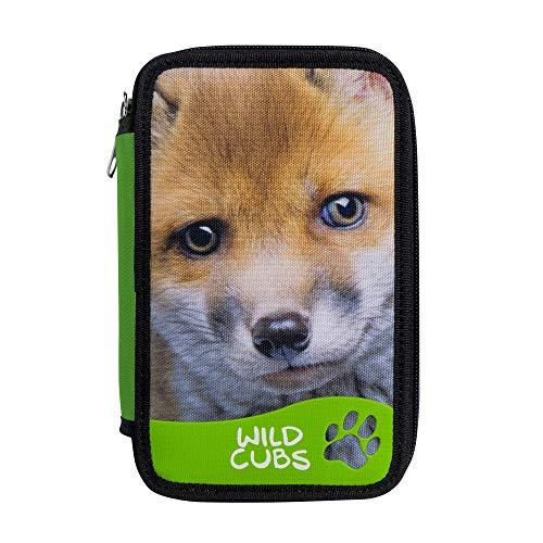 CARIOCA Wild Cubs Case   Großes Federmäppchen - 3 Fächer für Mädchen und Jungen mit Schulmaterial: 18 Buntstifte, 18 Filzstifte und Schreibwaren, 42 Teile, Fuchs
