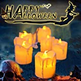 "LED Flameless Votive Candles,Halloween Decoration Candle,Pack of 12,Battery Operated Fake Candles Realistic""Tear Drop"" Votive Candles for Day of The Dead Decorations"